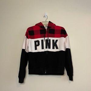 PINK VS Full Zip Red Checkered Sherpa Hoodie